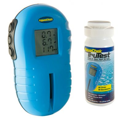 AquaChek TruTest digitaler Wassertester mit 25 Teststreifen Chlor/ PH