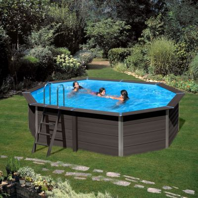 Gre Composite Pool 524 x 386 x 124 cm oval Avantgarde WPC Pool